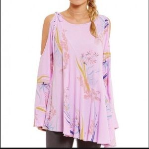 NWOT Free People Clear Skies Printed Tunic Lilac